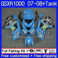Kit + tanque para SUZUKI GSX R1000 GSXR-1000 GSXR 1000 2007 2008 RIZLA azul caliente 301HM.34 GSX-R1000 07 08 Carrocería K7 GSXR1000 07 08 Carenado 7Regalos