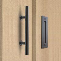 304 الفولاذ المقاوم للصدأ انزلاق باب الحظيرة سحب مقبض الخشب مقبض الباب ، مقابض الباب الأسود للأبواب الداخلية