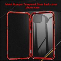 Magnetische Adsorptie Flip Phone Case voor iPhone 11 Pro Max iPhone 6 7 8 Plus XS MAX XR Metalen Bumper Gehard Glas Rug Cover Telefoon Cover