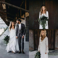 Vintage Boho Wedding Dresses Hippie Country Crochet Lace A L...