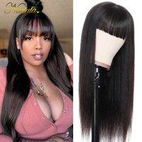 Nadula WIG 13x4 Frente de encaje transparente Peluca de cabello humano con flequillo Brasileño Lace Remy Remy Pelo sin desembolso Color natural
