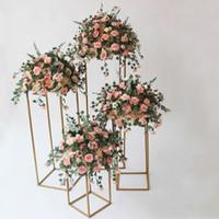 Fashion Gold Flower Vase Floor Vases Column Stand Metal Road Lead Wedding Table Centerpiece Flower Rack Event Party Decoration