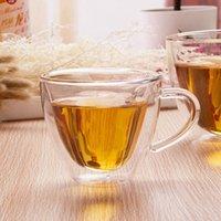 مزدوجة الجدار القدح الزجاج على شكل قلب 180ml 240ml قهوة حليب الكؤوس الشاي مع مقبض شفافة زجاج الأقداح هدايا رومانسية الرئيسية DRINKWARE HHA1089