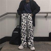 HOUZHOU Mucca stampano i pantaloni Donne stile coreano Cow Print gamba larga pantaloni Harajuku Pantaloni Estate coreano Abbigliamento Streetwear Donne
