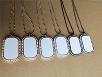 blanc sublimation colliers rectangle ronde pendentifs collier pendentif chaud forage tranfert impression prix usine consommable -Blanc