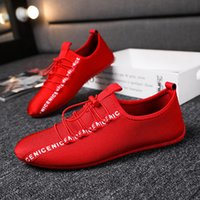 Single Lining Mens Flats Red Black Low Top Driving Moccasins...