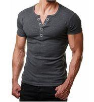 Mens T Shirt Uomo Estate Fashion V manica corta Tee Shirt Homme casual Button Slim Fit Metal Design Mens magliette XXL