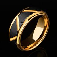 2018 Nuovo arrivo 8mm larghezza anello di nozze in carburo di tungsteno nero design sfaccettato mens banda placcatura in oro all'interno comfort fit 5-11.5 Y19062004
