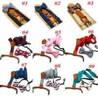 Tirantes ajustables enrejados para niños Baby Plaid Braces Clip de correa para niños con pajarita 9 colores Cinturones