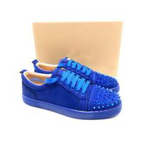 Mavi siyah kırmızı taban Deri başak ayakkabı makosenler kutusu ile deri suedue lüks ayakkabı boyutu 35-47 üzerinde kayma tasarımcı ayakkabılarını bağlamak kırmızı