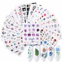 50 Sayfaları Karışık Çiçek Tüy Su Transferi Nail Art Sticker Filigran Aralık ch.A874
