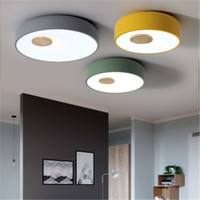 Nórdica de madera del estilo acrílico LED CeilingLights creativo Salón cocina Dormitorio principal Lámparas de techo AC 90-260V envío libre