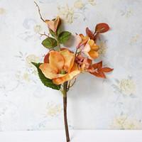 Retro Kleine Plumeria Magnolia Gruppe Ast künstliche Blume Gefälschte Blumen-Ausgangsdekoration Ornamente Wedding Supplies Fotografie Props
