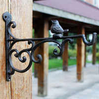 4 Pieces Cast Iron Bird Bracket Wall Mount Hook Hanger for G...