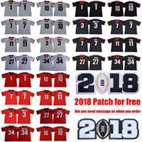 2019 Georgia Bulldoggen # 11 Jake Fromm 7 Dandre Swift 3 Todd Gurley II Wanderer Schwarz Rot Weiß UGA Rose Bowl Zucker Meisterschaft Trikots