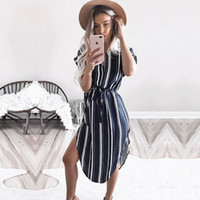 Womens Dresses New Arrival 2018 Summer Striped Vintage Casua...