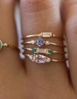 4pcs / Set Модные женские кольца 18-каратного желтого золота, покрытые кольцами циркона с центральным камнем, Бесплатная доставка оптом и в розницу