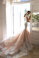 Sexy Blush Pink Lace Appliqued Mermaid Wedding Dress Luxury ...