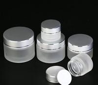 5 г 10г 15г 20г 30г 50г матовое стекло Косметические Jar Слейте Крем для лица Бальзам для губ Контейнер для хранения Refillable Образец бутылки с серебряной Крышки DHL