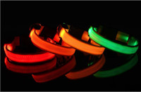 8colors 4sizes 밤 안전 LED 가벼운 깜박이 광선 나일론 애완 동물 개 칼라 작은 중간 개 애완 동물 가죽 끈 개 칼라 안전 칼라 SHU26