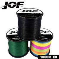 JOF 1000m Línea de pesca 8 hilos PE Carpa Pesca Cordón Pesca Trenzado Alambre 22-88LB Peche 9 colores Accesorios fuertes
