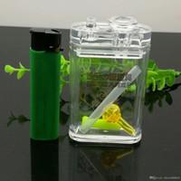 Klassische Acryl Wohnung Tabakdose Wasser Tabak Flasche Glas Bongs Ölbrenner Rohre Wasserrohre Bohrinseln Raucher Kostenloser Versand