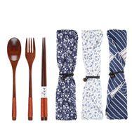 3 шт./компл. натуральный деревянный посуда набор бамбуковая вилка палочки для еды суп чайная ложка Кейтеринг набор столовых приборов с тканью мешок портативный посуда набор