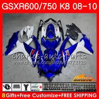 Corpo per Suzuki Stock Blue Hot GSXR 600 750 GSX R750 R600 GSXR600 08 09 10 9HC.20 GSX-R750 GSXR-600 K8 GSXR750 2008 2009 2010 Kit carenatura