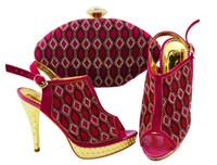 아름 다운 자홍색 여성 신발 모조 다이아몬드 격자 스타일 아프리카 펌프 일치 지갑 jzc003, 힐 12cm