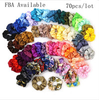 Hair Scrunchies Satin Large Intestine Hairband Elastic Hair Ties Ropes Girls Ponytail Holder Colorful Hair Accessories 70pcs Lot DW4971