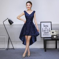 Dark Navy Hi- Lo Bridesmaid Dresses Lace V- neck Empire Waist ...