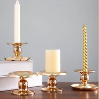 Pequenos detentores de vela de ferro de ouro para casa sala de estar decoração carrinho para bandeja de copo de vela de festa de Natal