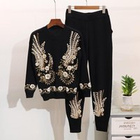 Winter New Fashion Women Knitted Sets Beaded sequin embroide...