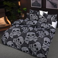 Black White Skulls Bedding Set Floral Skull Duvet Cover Pill...