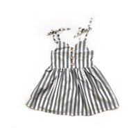 Sevimli Toddler Bebek Kız Çocuk Çizgili Kolsuz Yaz Kısa Mini Elbise Etek