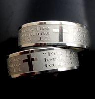 Großhandel 25 Stücke Jeremiah 2911 Kreuz Jesus christian gebet silber gravieren 316L edelstahl ringe schmuck fingerring männer frauen ringe