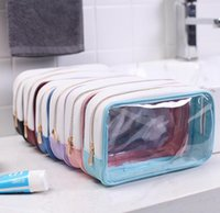 DHL 50pcs Cosmetic Bag Women PVC&PU Transparent Solid Wash S...