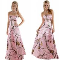 Vindima País rosa Camo Vestidos casamento com cristal frisado decote sem alças Realtree A Linha de vestidos de noiva casamento veste
