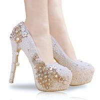 Più di formato 34 per 40 41 42 scarpe da sposa fiore Handmade Pearl Scarpe Donna nuziale scarpe di lusso di marca vengono con la scatola