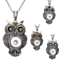NOOSA Owl Necklace Ginger Snap Joyas 18mm 4 colores Colgante Popper Jewelry Vintage con cadena