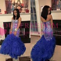 2019 Black Girls Royal Blue Vestidos de baile Cuello cariño Brillante Con cuentas Cristal Mermaid Ruffles Faldas Lace Up 2k 17 19 Vestido formal