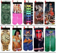 ocio deportivo amantes de la moda del resorte pega 3D impreso mediados de tubo de calcetines deportivos calcetines de los hombres de moda calcetín y el calcetín de las mujeres