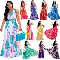 Femmes décontractées maxi maxi robes Mode floral imprimé Boho Beach Sundresse Deep-V Vacances A-Line Club Party Gilet Jupe Plus Taille Vêtements Pour femmes S-2XL