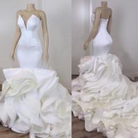 2021 Image réelle Volants Robe de mariée Robe de mariée Robes de mariée Plus Taille Sweeetheart Open Retour South African Vestidos de Novia Jardin Mariage