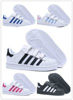Adidas SuperStar Nuevos niños Superstar zapatos Original White Gold baby kids Superstars Sneakers Originals Super Star girls boys Sports kids shoes 24-35