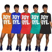Kadın Erkek Bye Mektup T-shirt Elbiseler Katı Renk Kısa Kollu Mini Elbiseler Ekip Boyun Rahat Uzun Tee Tops S-XL Yaz Giysileri Ucuz 2719