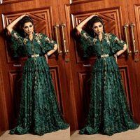 2020 Dubai arabo verde scuro abiti da sera convenzionale con manica lunga musulmana caftano Abaya 3D pizzo floreale Occasione Prom abito