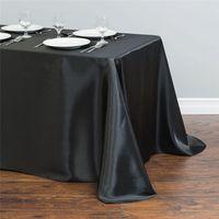 Blanc Satin Nappe 140cmx250cm Rectangle Table Cover WholeSale Nappes Pour Mariage Événement Fête Hôtel Décoration
