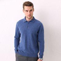 Suéter dos homens Hlicyum lã camisola lapela pulôver 100% casual colar de colarinho de colarinho de cashmere