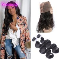 Brasileiro Virgin Hair 2 pacotes com 360 lace frontal faixa ajustável corpo pacotes de onda com 360 frontal 100% cabelo humano 3 peças
